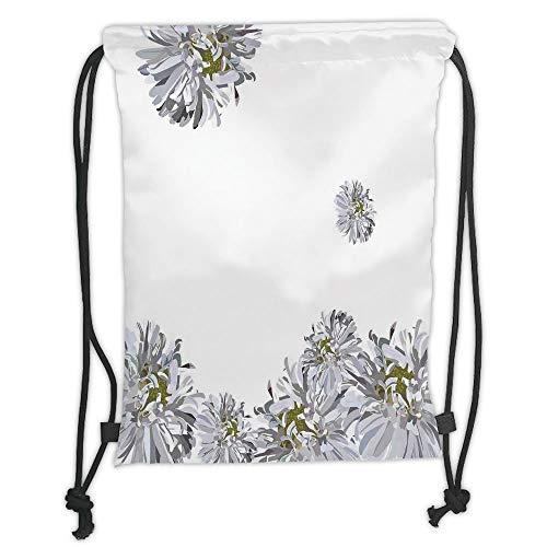 C7 Fusion (Icndpshorts Drawstring Backpacks Bags,Dahlia Flower Decor,Flourishing Summer Fusion Poppy Chamomile Purity Icons of Habitat Art,Grey Mustard Soft Satin,5 Liter Capacity,Adjustable String Closu)