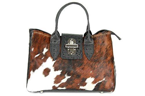 BELLI ital. Echt Leder Handtasche Henkeltasche Echt Fell Kuh schwarz Kroko Prägung - 36x25x18 cm (B x H x T) (Handtasche Leder Prägung)
