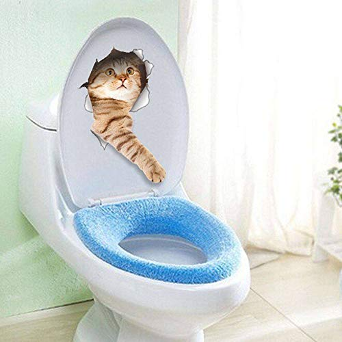 ZYZED Wallpaper 1PC Vendita calda 3D Gatti Cani Carta da parati decorativaAdesivi per sedili da toilette Vivid View Room Bathroom Art Poster da parete, C