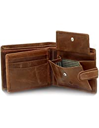 StarHide Men's RFID Blocking Wallet Distressed Hunter Brown Leather Tri fold Designer Purse With Photo ID, Credit Card & Coin Pouch - 1212