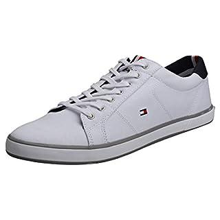 Tommy Hilfiger Men's H2285 Arlow 1D Canvas Lace Up Trainer White-White-11