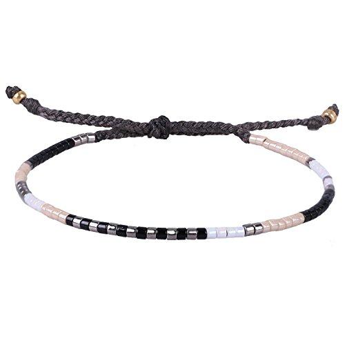 KELITCH Schwarz Weiß Mischen Farbe Rocailles Perlen Dünn Seil Schnur Geflochtene Armband Kette Armbänder für Mädchen Damen - #07