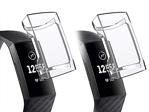Dolank kompatibel mit Fitbit Charge 3 Schutzhülle, Aufladbare Schutzfolien TPU Displayschutzfolie Anti-Kratzer Weiche Abdeckung Rahmen Sport Zubehör für Fitbit Charge 3 Fitness Tracker Klar 2 Stüc