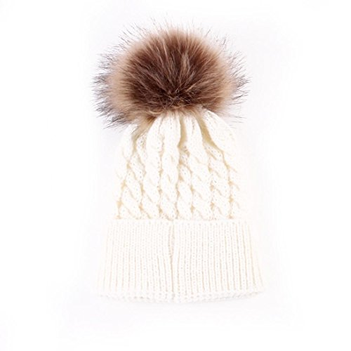 Covermason cute baby kids newborn hats winter knitted hat cap with pom white