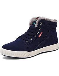 Uomo Snonw Stivaletti Antiscivolo Winter Sneakers Impermeabili Foderato in Pelliccia  Stivali Corti Lace-Up Boy Outdoor Walking Scarpe… 9d552d95e3c