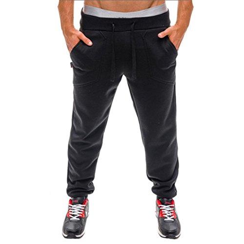 Pantalones largos para hombres Moda Casual Chandal Aptitud Rutina de ejercicio Joggers Gimnasio Al aire libre Pantalones deportivos Ropa deportiva para hombres Pantalones de hombre LMMVP (XXL, Negro)