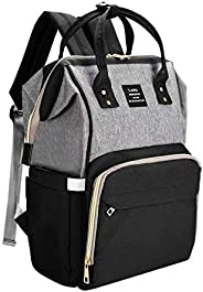 Backpack Diaper Bag Baby Bag for Mom/Dad, Large Capacity Diaper Backpacks Nappy Travel Bags, Multi-Function Waterproof, Stylish and Durable (Gray-Black)