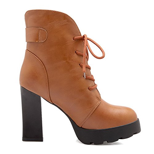 AgooLar Damen Hoher Absatz Blend-Materialien Niedrig-Spitze Rein Schnüren Stiefel, Schwarz, 39