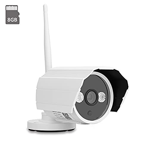 IdeaNext HD 720P Wireless WiFi IP Camera Bullet Outdoor/Indoor Waterproof Security Surveillance System with Night Vision (Built-in 8G SD