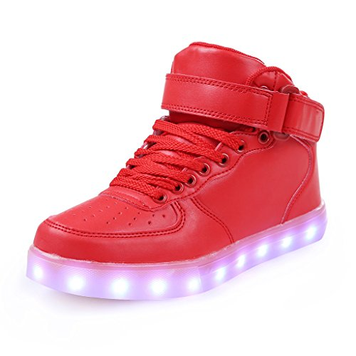 Sgoodshoes High Top USB de recharge Chaussures LED Sport Clignotant Sneakers à lacets Couples Chaussures pour Femmes Hommes Rouge