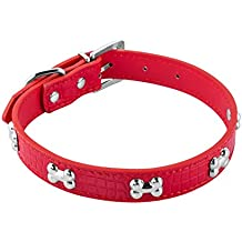 Pet Collar, JL PETS Adjustable Eco Leather Crocodile Effect Dog Collar with Silver Bone Studs, Red - Medium