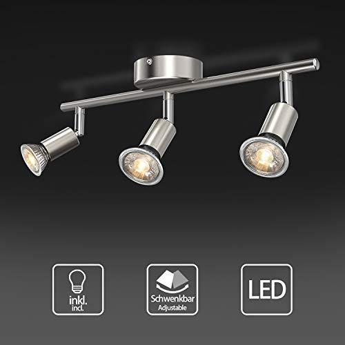 Uchrolls Foco LED para techo I 3 vías lamparas de techo led I Luz de techo I Orientable y giratoria, apto para cocina, sala de estar y dormitorio(incluye 3 x 5 W bombillas LED GU10)