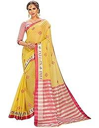 Craftsvilla Women's Kota Cotton Cross stitch Yellow Embroidery Saree with Blouse piece