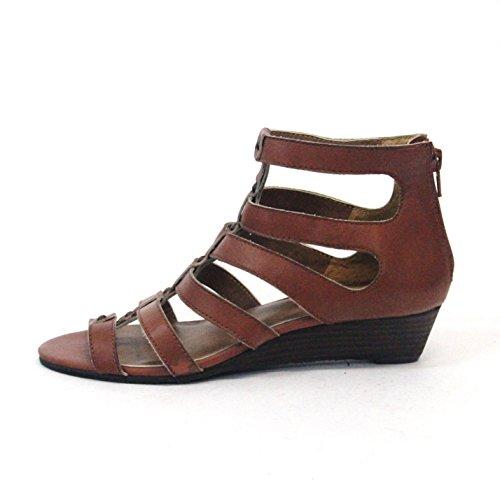 Lucky marchio open-punta gladiator sandali, taglia 3,5, da £98 Marrone (marrone)