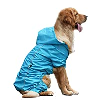 AZZ Large Dog Rain Jacket Poncho Waterproof Clothes With Hood Dog Raincoat With Safe Reflective Stripes For Small Medium Large Pet (Color : Blue)
