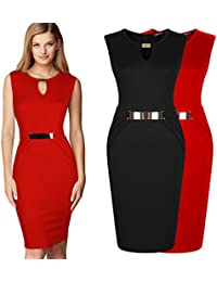 SSITG Damen Business Celeb Kontrast Stretch Party Cocktail Pencil Abendkleid Gr.36-46