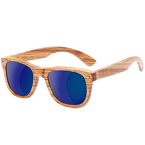 Ppy778 Sonnenbrille Zweifarbiger Glanz Holz Holzmaserung Muster Effekt Rahmen Verspiegelte Linse UV400 (Color : Blue)