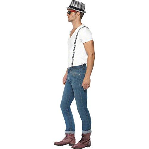 Ska Kostüm Set Hosenträger weiß-schwarz Ska Hut 50er Jahre Kostümset Faschingszubehör - 2