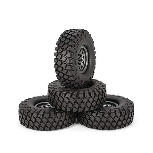 Monllack 4 Pezzi da 1,9 Pollici 115 millimetri di Gomma Pneumatici con Metal Wheel Rim Set per 1/10 Traxxas TRX-4 SCX10 RC4 D90 RC Crawler Parte dell'automob