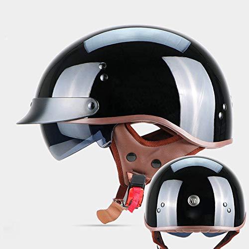 BCX XCF Helm, Hochwertige ABS, Motorrad Retro-Halbhelm Männer und Frauen Vier Jahreszeiten und Eine Hälfte abgedeckt Leichten Helm,F,2XL