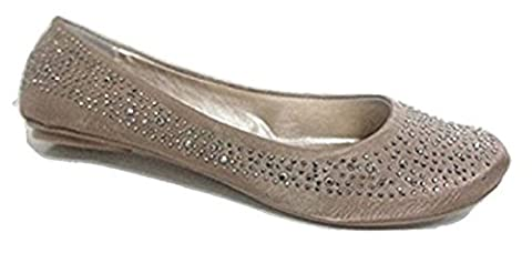 EMERSON Beige Nude Satin Jeweled Ballerina Dollies / Pumps - SIZE 6 to 11 (UK8)