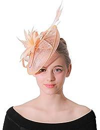 Sumferkyh Tea Fascinator Cappello da Donna con Piume e Copricapo da Sposa  Cappello Cocktail Headwear per 7e204652de67