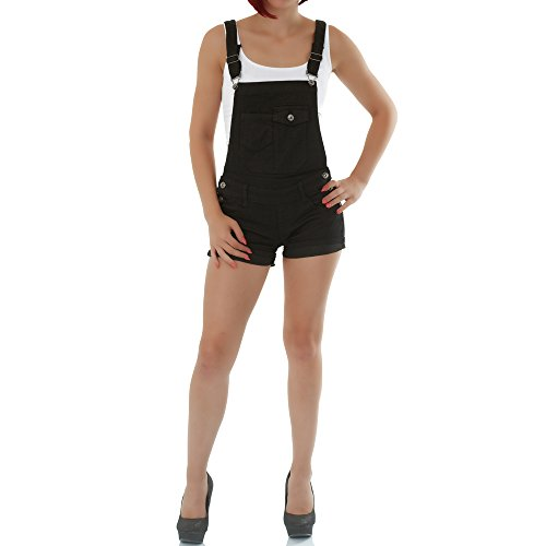 malucas Damen Jeans Shorts Latzhose Kurze Hose Hotpants Bermuda Overall Jumpsuit Stretch, Größe:34, Farbe:Schwarz