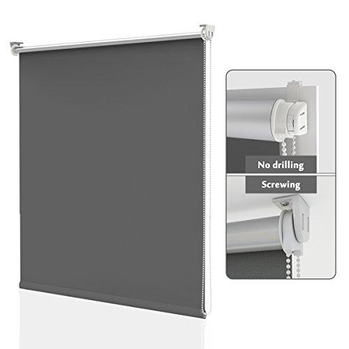 HOMEDEMO Estor Enrollable Opaco 85 x 170 cm Termico estores Aislamiento térmico Prevenir Ultravioleta Montaje Sencillo sin Taladrar Gris