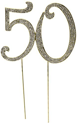 (Large Gold, 50th Anniversary 50th Birthday Cake Topper Oh My Favors by Yi Enterprise INC)