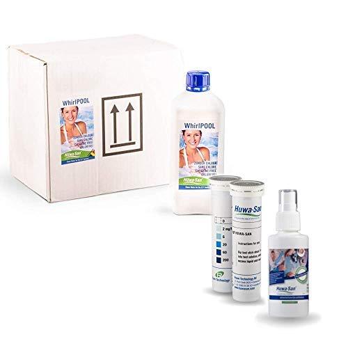 Huwa-San Whirlpool chlorfreie Wasserpflege und Desinfektionsmittel mit stabilisiertem Aktivsauerstoff Saisonvorrat mit Preisvorteil (6 x 1L) + Gratisflasche Travel & 100 Teststreifen