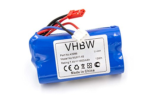 vhbw Li-Ion Akku 1800mAh (7.4V) für Modellbau Revell Big One Next 23981, F-645 Hubschrauber, MJX F-45, The Big One 24056