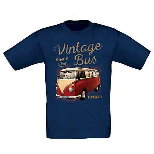 Shirt Department - Kinder T-Shirt - Vintage Bus - Since 1950 dunkelblau-Hellbraun 134-146