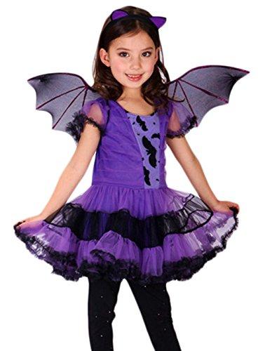Ideen Cosplay Quinn Harley (Scothen Mädchen Fledermaus Bat Wings Kinderkostüm komplettes Kostüm für Halloween Fasching Karneval Kinder Fledermaus Flügel Halloween Bat Wings Kostüm Accessoire)