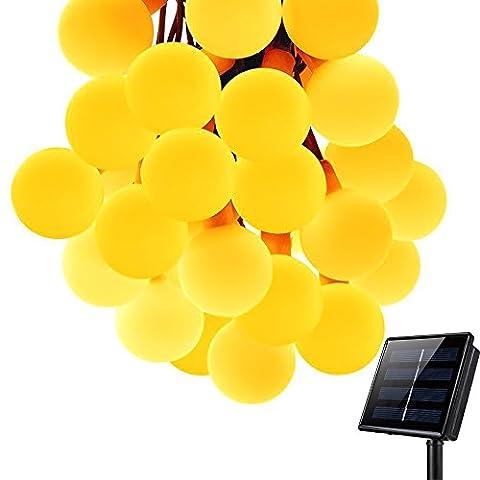KEEDA Guirlande Lumineuses Solaire d'extérieur,50LED Boules, 7m(22,97ft), Lampe LED Impermeable,Décoration d'extérieur/Lumières Solaire Décoratives,Luminaire Extérieur, Eclairage Solaires,Lumières Chaines de Noël, Chaîne Solaire Extérieure de Lampe, Noël Décoration (Blanc Chaud)