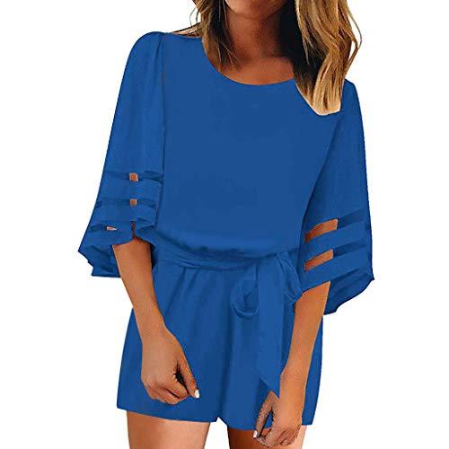 Yvelands Damen Kleider Mesh Panel Bluse 3/4 Bell Sleeve Lose Minikleid mit Gürtel ()