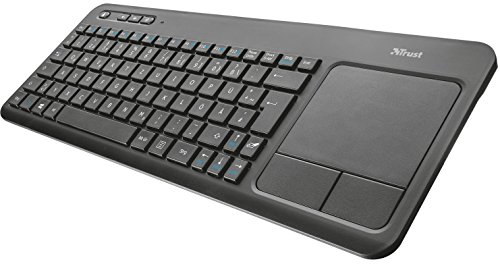 Trust All-in-One Kabellose Multimedia Touch Tastatur (für Laptop/PC/Smart-TV/PS4/Xbox One) schwarz