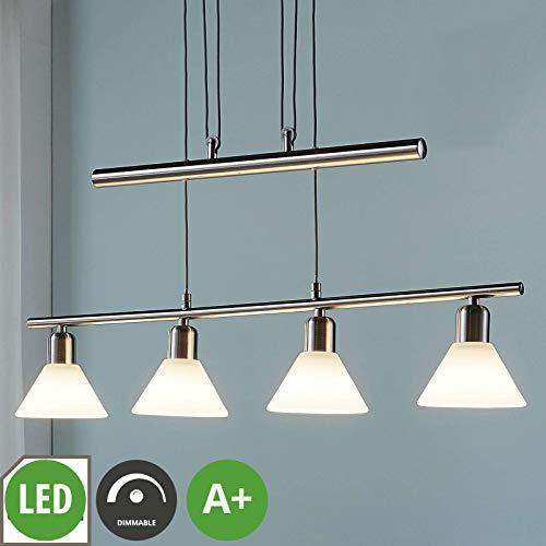Lampenwelt LED Pendelleuchte 'Eleasa' dimmbar (Modern) in Alu aus Glas u.a. für Wohnzimmer & Esszimmer (4 flammig, E14, A+, inkl. Leuchtmittel) - Hängeleuchte, Esstischlampe, Hängelampe, Hängeleuchte