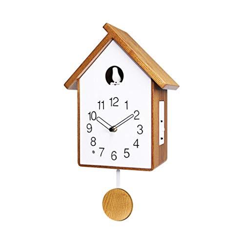 LYM & Wanduhr Wanduhr Non Ticking Silent Kinderzimmer Batteriebetriebene Dekorative Wohnzimmer Vogel Wecker Schlafzimmer Kind Analog Pendel Holz Quarz Uhr (Color : B)