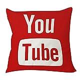 1Willloanestore Youtube Icône médias Sociaux Taie d'oreiller 18x 1818X 18Creative Mode Coton Lin carré Couvre-lit décoratif Taie d'oreiller