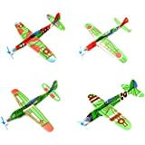 Fancyku Novelty Foam 8-Inches Flying Glider Plane Set Birthday Party Favor Plane, Great Prize, Handout / Giveaway Glider, Flying Models (4 Pcs)