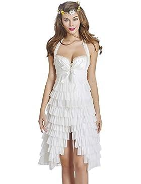 Ting Lencería Sexy Con Cuello En V Pijama Encaje Pijama Encaje Vestido De Noche (blanco Negro),-1-XXL