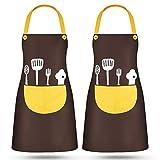 Uong Uong 2 Stück küchenschürzen, Wasserdicht Kochschürze mit Tasch, Verstellbarem Küchenschürze, Grillschürze, latzschürze, Küchenschürze für Hauptküche, Restaurant, Kaffeehaus (Stil C)