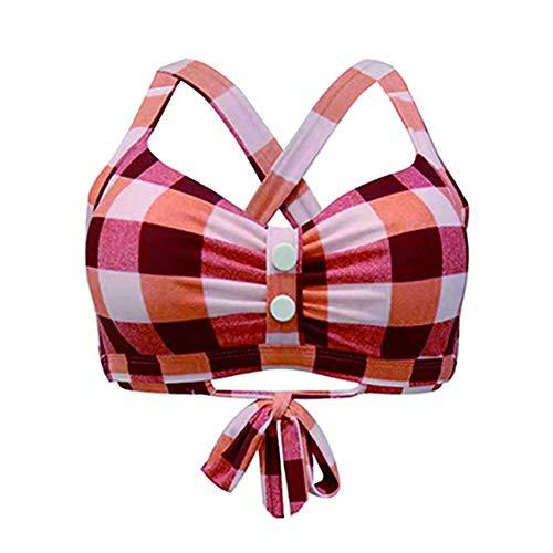Gotimal Damen Retro Button Down Gitter Bikini Oberteile verstellbare Träger Kreuz zurück Bademode Rot S -