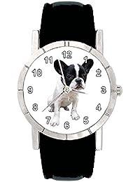 Bulldog francés Reloj para mujer con correa de piel