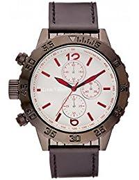 Reloj hombre Louis Villiers reloj 48 mm de acero blanco y pulsera marrón piel lv1028