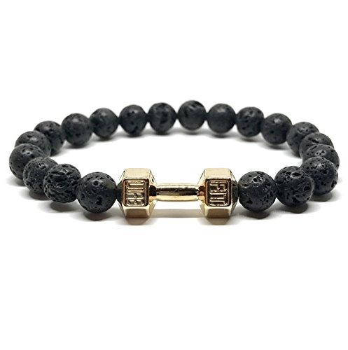 GOOD.designs bracciale di perle in vera pietra nera naturale Lava/Lavica, fit life - ciondolo a forma di pesi da palestra in argento, bracciale per donna e uomo, braccialetto-manubri motivante, gold's gym fitness-accessori