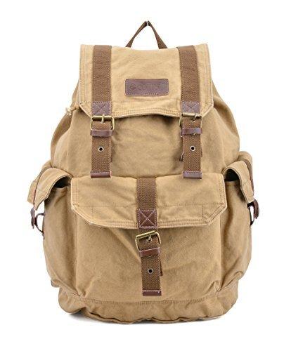 Gootium Canvas Rucksack Backpack Wanderrucksack Vintage Rucksäcke Unisex - Beige -