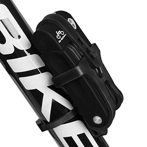 Inbike Fahrradschloss Faltschlöss für Fahrrad mit Rahmenhalterung(Schwarz Anti-Hydraulik)