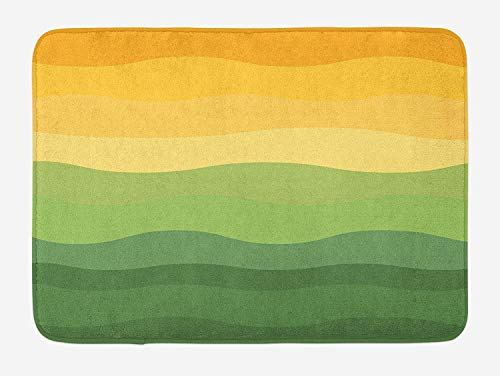 Abstract Bath Mat, Green And Yellow Colored Wavy Lines Curves Earth Inspired, Plush Bathroom Decor Mat with Non Slip Backing, 23.6 W X 15.7 W Inches, Mustard Amber Ginger Reseda Green