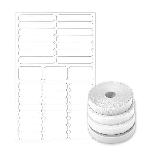 PACK BASIC: 60 Etiquetas blancas tela termoadhesiva
